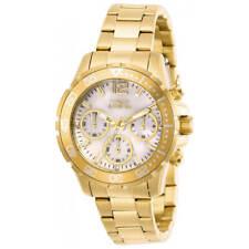 Invicta Women's Watch Pro Diver Chrono White MOP Dial Yellow Gold Bracelet 29456