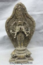 """16"""" Chinese Old Bronze Gilt 1000 Arms Kwan-yin Guanyin Guan Yin Statue"""