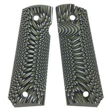 1911 Full Size G10 Gun Grips Mag Release Ambi Safety Cut Green Olive H1-J6-11