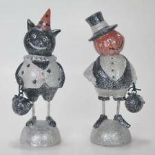 "Cat and Pumpkin People Figurines Set of 2 6"" Tall Halloween Holiday Decoration"