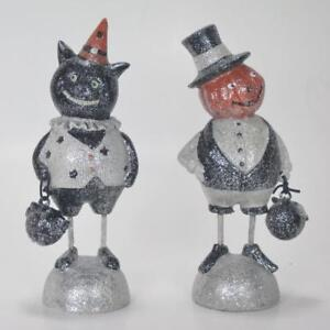 """Cat and Pumpkin People Figurines Set of 2 6"""" Tall Halloween Holiday Decoration"""