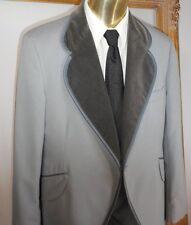 Boys 5 Vintage Grey Windsor Tux Coat Velvet Lapels Wool Gray Jacket