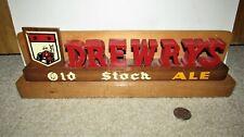 1940's DREWRYS OLD STOCK ALE back bar shelf sign SOUTH BEND, INDIANA