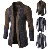 Stylish Mens Knitted Cardigan Jacket Slim Long Sleeve Casual Sweater Coat Blazer