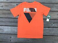 Puma Kids Boys Tee Short Sleeve TShirt Orange Tee Shirt Top Size L (Kids) 14-16
