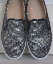 JIMMY CHOO Demi Black Patent Silver Glitter Trainer Sneakers with Multi Logos 40