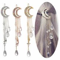 Women Chic Moon Crystal Rhinestone Beads Dangle Hairpin Hair Clip Bridal Jewelry