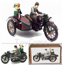 MS804 Motorcycle with Passenger in Sidecar Retro Clockwork Wind Up Tin Toy w/Box
