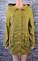 New Women's Long Khaki Green Hooded Cotton Raincoat Coat Jacket Parka UK Size 10