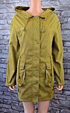 Long Khaki Green Hooded Cotton Raincoat Showerproof Coat Jacket Parka UK Size 10