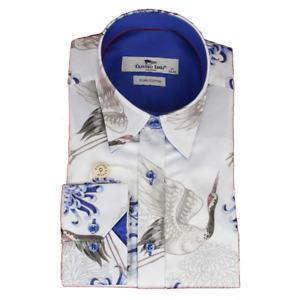 Claudio Lugli Flower And Bird Print Shirt Blue CP6625 Medium Large XXL XXXL