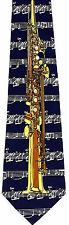 Soprano Sax Men's Necktie Musical Instrument Musician Music Blue Neck Tie