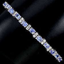 Sterling Silver 925 Genuine Rich Blue Violet Tanzanite Bracelet 7.5-8.5 Inches
