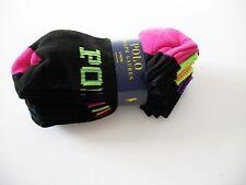 Polo Ralph Lauren Womens Contrast Heel Sports Socks 6 Pack Black Asst Sz 9-11