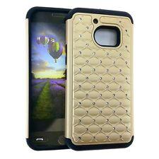 For HTC 10 / ONE M10 - HARD & SOFT RUBBER HYBRID CASE COVER GOLD DIAMOND BLING