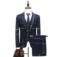 Men Navy Blue Plaid Suit Groom Tuxedo Formal Wedding Prom Party Dinner Suit