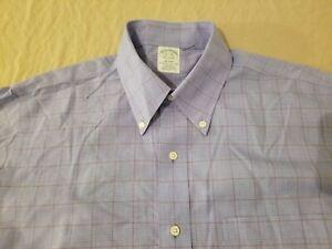 Mens Brooks Brothers Dress Shirt 16 1/2 32 Blue Button Cotton