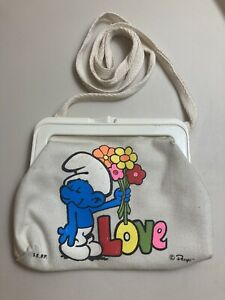 Smurfs Clasp Coin Purse Peyo Love Flowers Strap Accessory Vintage Smurf
