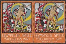 """Sweden Cinderella stamp Pair: Olympische Spiele Games """"Stockholm 1912"""" - ow185"""