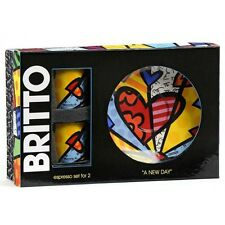 """Romero Britto """"A New Day"""" Espresso Cup and Saucer Set of 2 Hearts Coffee New"""