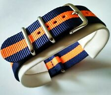 22 mm Nato watch Strap Correa Reloj Nylon Azul oscuro naranja Dark Blue & orange