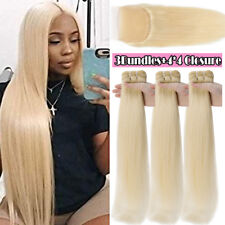 Platinum Blonde Peruvian 9A Virgin Human Hair Weave 3Bundles OR Lace Closure US