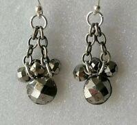 Antique Style Cut Steel Flower 925 Sterling Silver Drop Dangle Hook Earrings