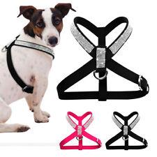 Bling Crystal Rhinestone Dog Suede Leather Harness Small Medium Dog Walking Vest