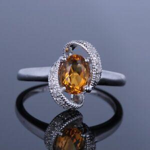 Solid 10K White Gold Oval Cut Citrine Fine Ring Diamonds Wedding Prongs Settings