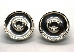 Tiffany & Co 925 Sterling Silver Vintage Round Button Clip On Earrings (T15)