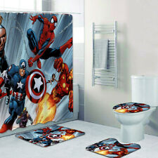 Marvel Avengers Bathroom Rug Shower Curtain 4PCS Non-Slip Toilet Lid Cover Mat