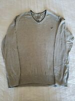American Eagle V Neck Cotton Sweater Prep Fit Gray Long Sleeve Men's Size XL