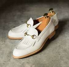 Handmade Men's White Leather Moccasin Loafers & Slip Ons dress leather shoes