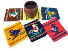 Zapotec Oaxacan Hand Woven Multicolor Wool Tapestry Rug Set of 6 Birds Coasters