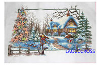 "LARGE NEW Finished completed Cross stitch/""Christmas winter/""home decor sale"