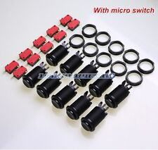 10 Pcs/lot Black Happ Style Push Button + Micro switch For Arcade Diy Parts Mame