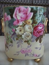 Very Rare! Antique LIMOGES GUERIN Hand painted Roses Vase Cachepot Double marked