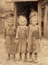 """1911 Old Time Photo, Three young Girls, 14""""x10"""", Shuck Corn, Child Labor, So Car"""