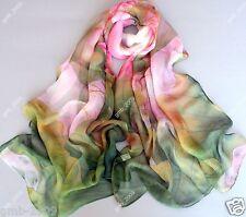 New Women's Fashion Georgette Long Wrap Shawl Beach Chiffon Scarf lotus flowers