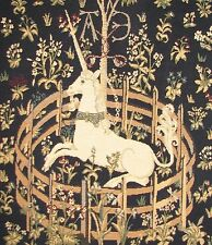 """UNICORN IN CAPTIVITY TAPESTRY CUSHION COVER 19x19"""" BLUE"""