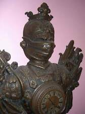 c1879 Lenzkirch unusual brass or copper SPQR knight clock