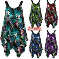 Plus Size Women's Dress Irregular Sleeveless Summer Dress Vest Tank Top DZ