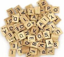 1000 WOODEN SCRABBLE TILES BLACK LETTERS & NUMBERS FOR CRAFTS WOOD UK SELL