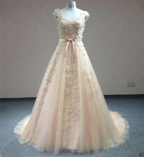 Princess Blush Lace Wedding Dresses Petal Bridal Gowns Custom Made Real Pictures