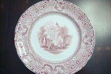"""Antique BUDA England Staffordshire Red Transfer Ware Plate 8 1/2""""[2esq]"""