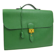 HERMES Sac A Depeche 38 Business Hand Bag ◯W CD Green Couchevel Auth AK38948