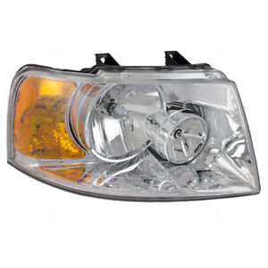 Headlight fits 03-06 Ford Expedition Passenger Side Headlamp Lens Chrome Bezel