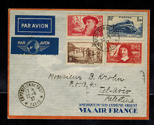 1937 Air France Cover Paris Exposition to Tel AViv Palestine High CV Stamps