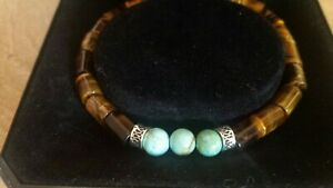 Mens ladies turquoise Beaded Bracelet 925 Sterling Silver Turquoise tigerseye