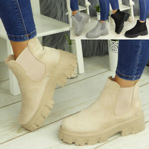 Ladies Ankle Chelsea Boots Shoes Elastic Chunky Heel Casual Comfy Shoe Sizes